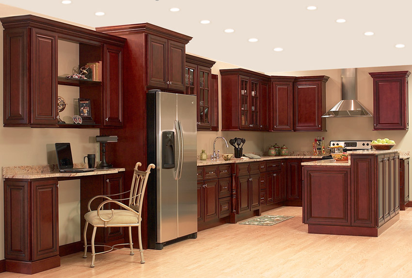 Dark Cherry Kitchen Cabinets With Granite Countertops